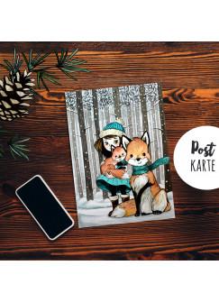 A6 Weihnachtskarte Postkarte Print Mädchen mit Fuchs im Winterwald Grußkarte Karte pk206