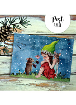 A6 Weihnachtskarte Postkarte Print Elfe Fee mit Maus Mäuschen im Winterabend Grußkarte Karte pk208