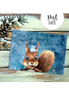 A6 Weihnachtskarte Postkarte Print Eichhörnchen mit Schnee im Winterabend Grußkarte Karte pk209