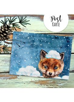 A6 Weihnachtskarte Postkarte Print Fuchs im Schnee Winterabend Grußkarte Karte pk210