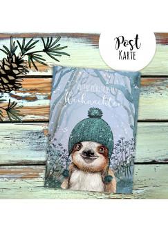 A6 Weihnachtskarte Weihnachtsgrüße Postkarte Print Faultier mit Mütze Grußkarte Allerfröhlichste Weihnachten pk223