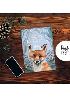 A6 Weihnachtskarte Weihnachtsgrüße Postkarte Print Fuchs im Winterwald Magische Weihnachten Grußkarte pk227