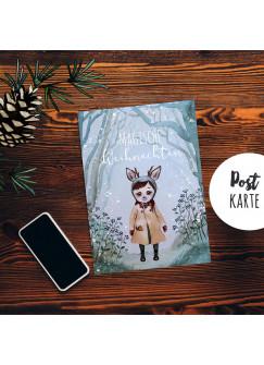 A6 Weihnachtskarte Weihnachtsgrüße Postkarte Print Rehmädchen Runi im Winterwald Magische Weihnachten Grußkarte pk229