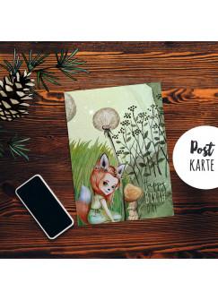 A6 Geburtstagskarte Postkarte Geburtstag Print Fuchsmädchen Pusteblume im Wald mit Spruch Happy Birthday pk231