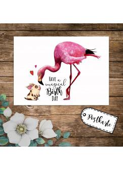 A6 Geburtstagskarte Postkarte Geburtstag Print Flamingo & Schweinchen mit Spruch Have a magical Birthday pk232