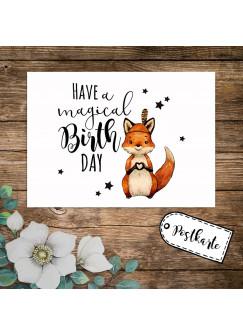 A6 Geburtstagskarte Postkarte Geburtstag Print Fuchs Indianerfuchs mit Spruch Have a magical Birthday Sterne pk234