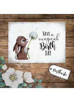 A6 Geburtstagskarte Postkarte Geburtstag Print Hase Häschen Pusteblume mit Spruch Have a magical Birthday pk235