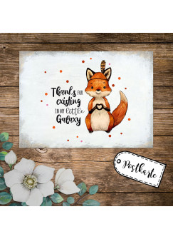 A6 Postkarte Print Fuchs Indianerfuchs Spruch Thanks for existing in my little galaxy Karte Grußkarte Punkte pk236