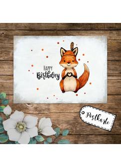 A6 Geburtstagskarte Postkarte Geburtstag Print Fuchs Indianerfuchs mit Spruch Happy Birthday Punkte pk237