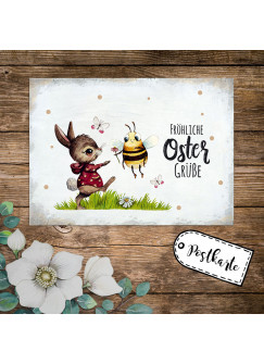 A6 Grußkarte Postkarte Osterkarte Print Hase Biene Bienchen Hummel Schmetterlinge & Spruch Fröhliche Ostergrüße Punkte pk242