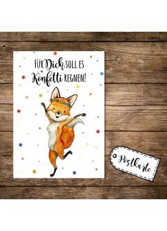 A6 Postkarte Print Fuchs Füchschen Spruch Für Dich soll es Konfetti regnen Karte Grußkarte Punkte pk251