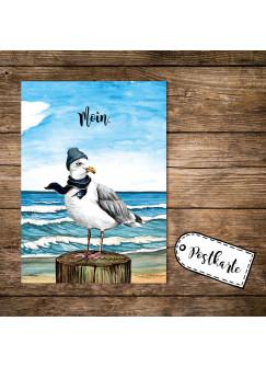 A6 Postkarte Print Vogel Möwe mit Mütze Schal am Meer Spruch Moin Karte Grußkarte pk252