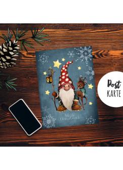 A6 Weihnachtskarte Weihnachtsgrüße Postkarte Print Zwerg Reh Grußkarte magical christimas pk254