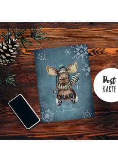 A6 Weihnachtskarte Weihnachtsgrüße Postkarte Print Elch auf Schlitten Schneeflocken Grußkarte Fröhliche Weihnachten pk257