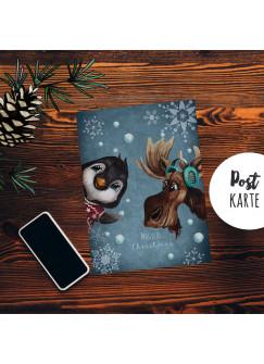 A6 Weihnachtskarte Weihnachtsgrüße Postkarte Print Elch Pinguin Schneeflocken Grußkarte magical christimas pk259