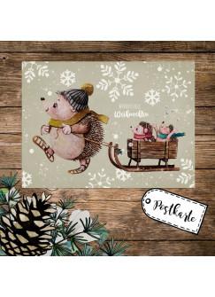 A6 Weihnachtskarte Weihnachtsgrüße Postkarte Print Igel Igelkinder Schlitten Grußkarte Wundervolle Weihnachten pk260