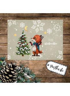 A6 Weihnachtskarte Weihnachtsgrüße Postkarte Print Fuchs mit Tannenbaum Grußkarte Frohe Weihnachten Geschenk pk262