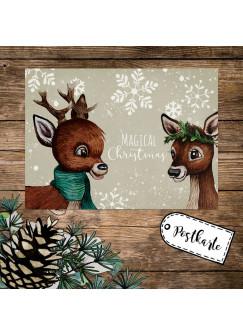 A6 Weihnachtskarte Weihnachtsgrüße Postkarte Print 2 Rehe Schneeflocken Grußkarte Magical Christmas Weihnachten Geschenk pk265