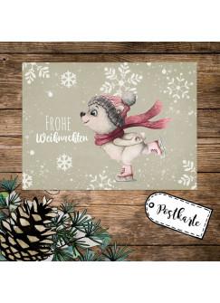 A6 Weihnachtskarte Weihnachtsgrüße Postkarte Print Eisbär Schneeflocken Grußkarte Frohe Weihnachten Geschenk pk267