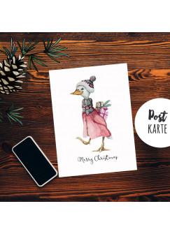 A6 Weihnachtskarte Weihnachtsgrüße Postkarte Print Gans Geschenke Grußkarte Merry Christimas pk270