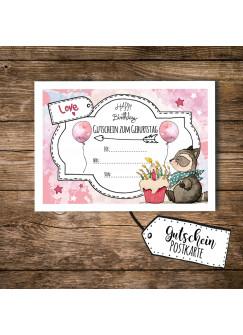 A6 Postkarte Gutschein zum Geburtstag mit Waschbär Kuchen und Luftballons rosa pk095