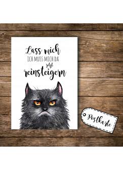 A6 Postkarte Print Katze grimmige Katze GRUMPY mit Spruch lass mich... pk099