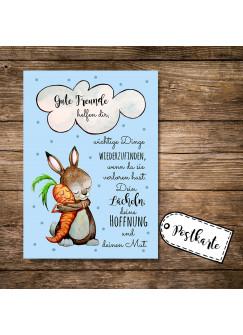 A6 Postkarte Grußkarte Karte Print Illustration Hase und Möhre mit Spruch gute Freunde helfen dir... pk88
