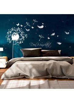 Wandtattoo Wandaufkleber Pusteblume mit Schmetterlingen Federn und Punkten M1920