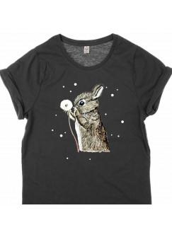 T-Shirt in Schwarz mit Aufdruck Print Hase Häschen Blume Pusteblume & Punke s6
