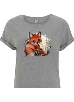 T-Shirt Damen in Grau mit Fuchs Mama & Jungtier Motiv shirt mit Aufdruck s09