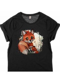T-Shirt Damen in Schwarz mit Fuchs Mama & Jungtier Motiv shirt mit Aufdruck s09