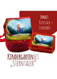 Schulset Kinderrucksack und Lunchbox mit Märchen Sterntaler Mädchen im Wald mit Wunschnamen S1