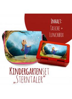 Schulset Kindertasche und Lunchbox mit Märchen Sterntaler Mädchen im Wald mit Wunschnamen S2