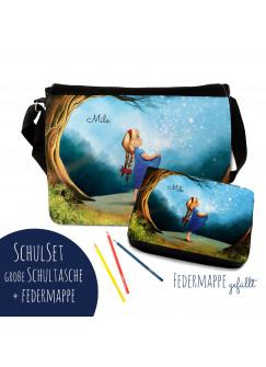 Schulset Schultasche und Lunchbox mit Märchen Sternenhimmel Mädchen im Wald mit Wunschnamen S3