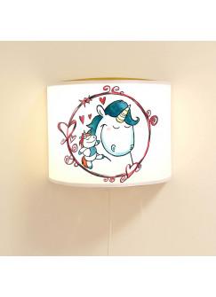 Wandlampe Schlummer-Lampe Lese-Schlummerlicht Einhorn mit Plüscheinhorn und Herzen Ls37