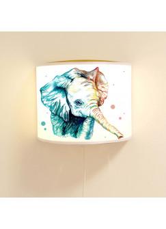 Wandlampe Schlummer-Lampe Lese-Schlummerlicht Elefant Aquarell mit Punkten Ls39