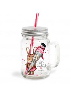 Mason Jar Trinkglas Hase Häschen & Schultüte ab heute Schulkind Trinkbecher mit Name Wunschname Geschenk bedruckt mit Deckel & Trinkhalm sg01