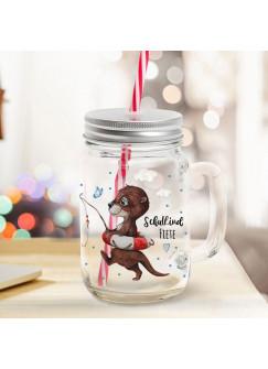 Mason Jar Trinkglas Trinkbecher Otter mit Angel & Schulkind Name Wunschname Einschulung Geschenk bedruckt Deckel Trinkhalm sg10