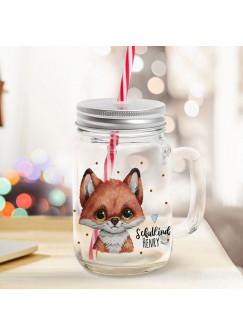 Mason Jar Trinkglas Trinkbecher Fuchs Füchschen & Schulkind Name Wunschname Einschulung Geschenk bedruckt Deckel Trinkhalm sg11