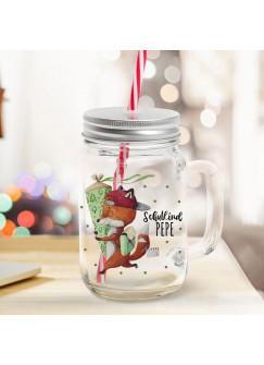 Mason Jar Trinkglas Trinkbecher Fuchs Füchschen mit Schultüte & Schulkind Name Wunschname Einschulung Geschenk bedruckt Deckel Trinkhalm sg12