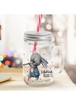 Mason Jar Trinkglas Trinkbecher Hase Hasenjunge mit Flöte & Schulkind Name Wunschname Einschulung Geschenk bedruckt Deckel Trinkhalm sg13