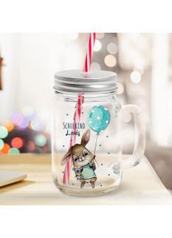 Mason Jar Trinkglas Trinkbecher Hase Hasenjunge mit Luftballon & Schulkind Name Wunschname Einschulung Geschenk bedruckt Deckel Trinkhalm sg14