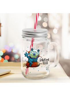 Mason Jar Trinkglas Trinkbecher Monster auf Rakete & Schulkind Name Wunschname Einschulung Geschenk bedruckt Deckel Trinkhalm sg15