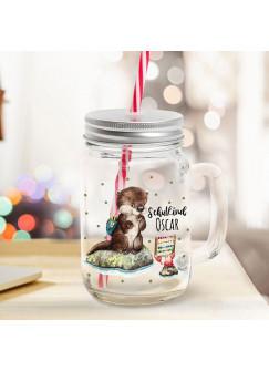 Mason Jar Trinkglas Trinkbecher Otter mit Krabbe & Schulkind Name Wunschname Einschulung Geschenk bedruckt Deckel Trinkhalm sg16