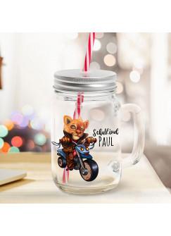 Mason Jar Trinkglas Trinkbecher Löwe auf Dreirad Biker & Schulkind Name Wunschname Einschulung Geschenk bedruckt Deckel Trinkhalm sg17