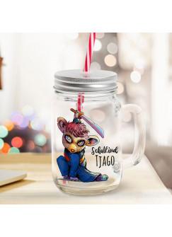 Mason Jar Trinkglas Trinkbecher Schwertkämpfer & Schulkind Name Wunschname Einschulung Geschenk bedruckt Deckel Trinkhalm sg18