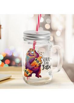 Mason Jar Trinkglas Trinkbecher Monster mit Skateboard & Schulkind Name Wunschname Einschulung Geschenk bedruckt Deckel Trinkhalm sg19
