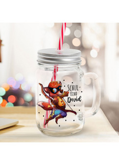 Mason Jar Trinkglas Trinkbecher Fuchs mit Pfeil & Bogen Schulkind Name Wunschname Einschulung Geschenk bedruckt Deckel Trinkhalm sg20