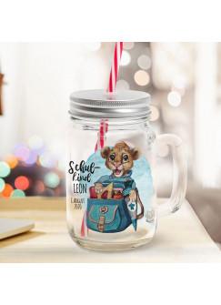 Mason Jar Trinkglas Trinkbecher Löwe Löwen Junge mit Schulranzen Schulkind Name Wunschname Einschulung Geschenk bedruckt Deckel Trinkhalm sg21