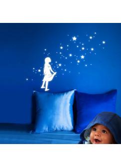 Mädchen mit Sterne Sternchen und Punkten fluoreszierend M919